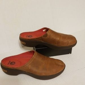 Crocs leather slide loafers women's size 8